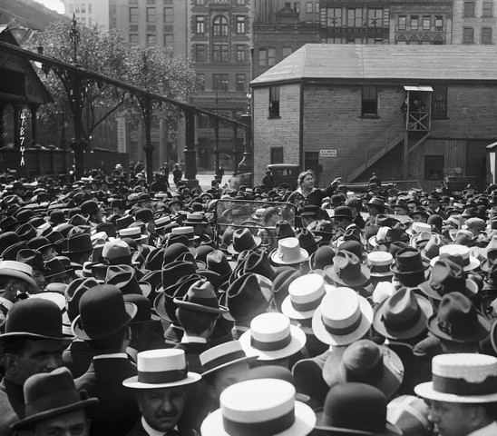 Emma Goldman speaking from an open car to a crowd of garment workers about birth control at Union Square, New York, on May 20, 1916. (UPI, Bettmann Archive)