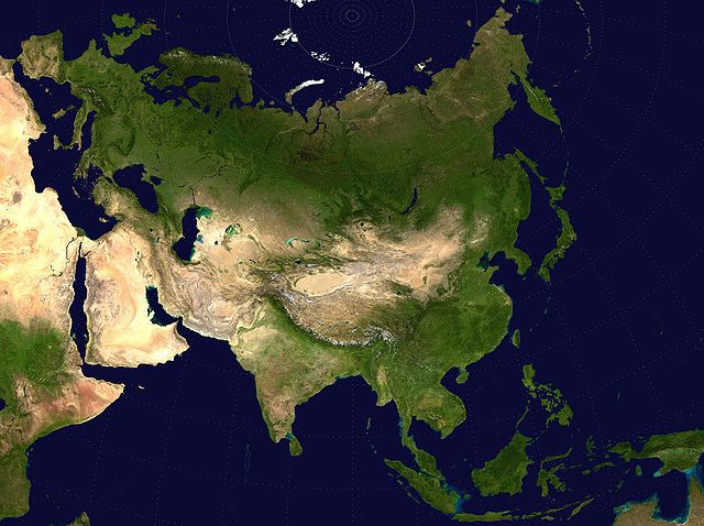 A Two Point Equidistant projection of Asia.