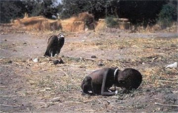 Kevin Carter's Pulitzer Prize winning photograph of a Sudanese child and a vulture.