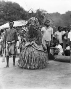 Bassa Devil and attendants on Division 2 of the Firestone Plantations Company, once the traditional lands of the Bassa people. Loring Whitman, August 11, 1926. Courtesy Indiana University Liberian Collections (VAD-2035-857)