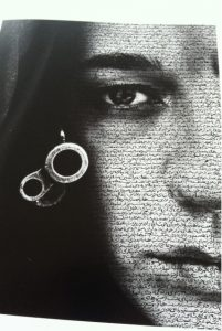 Speechless by Shirin Neshat (1996). Poet: Tahereh Saffarzadeh. In Daftari.