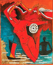 Iconic painting by M.F. Husain: Bharat Mata and the Dhow. In Chelkowski and Dabashi.