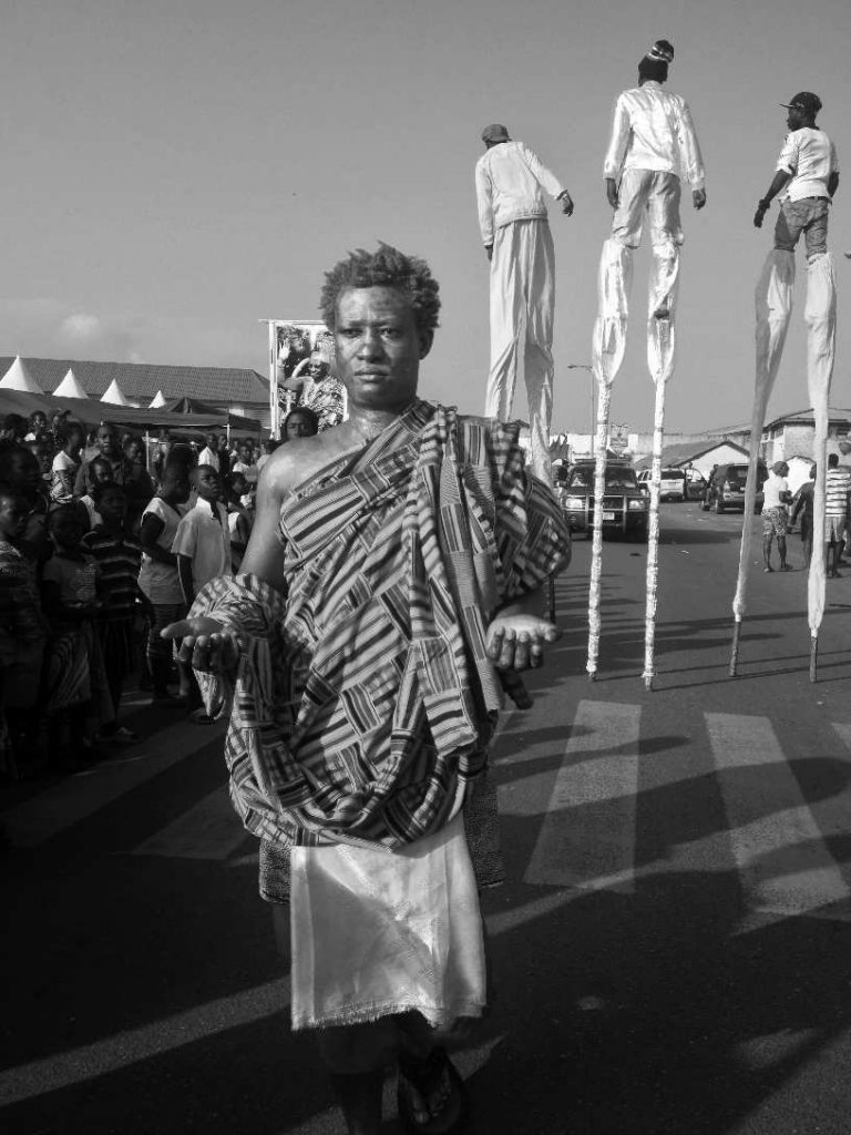 The performance artist Bernard Akoi-Jackson during Chale Wote Street Art Festival, High Street, Jamestown, Accra.